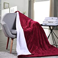 MaxKare Electric Heated Throw Blanket with Auto Shut Off Fast-Heating Sherpa Blanket for Full Body Warming Reversible Soft Plush and Three Heat-Level Setting