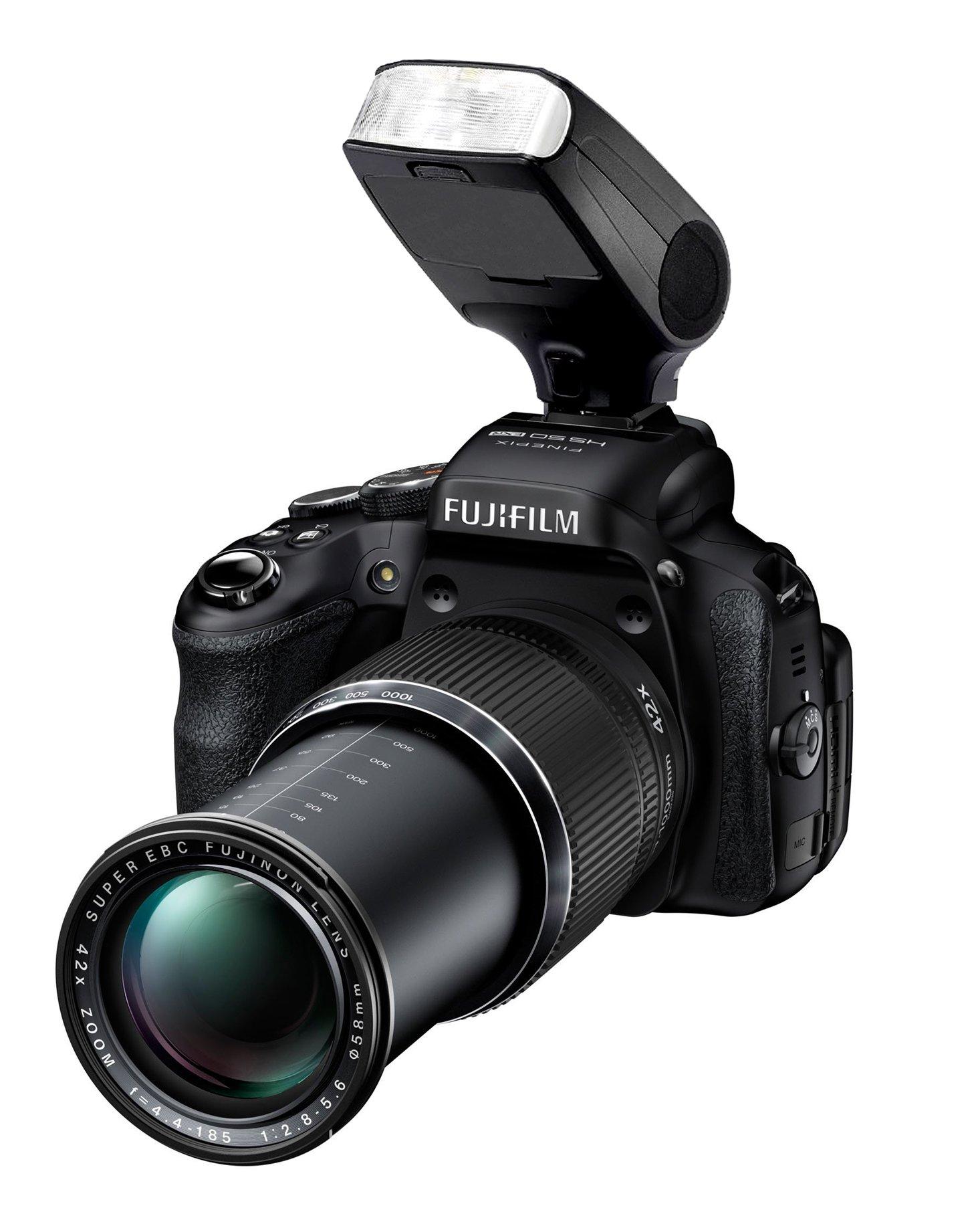 Fujifilm FinePix HS50EXR Bounce, Swivel Head Compact Flash (TTL) + Nw Direct Micro Fiber Cleaning Cloth by Vivitar/Digital (Image #1)