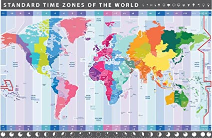 Detailed World Map (Chart) with Timezones - Wall Poster - 48cm x 33cm