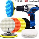 POLIWELL 6 Inch Car Polishing & Buffing Sponge Pads Kit Wool Bonnet Pads for Household Electric Drill and Auto Polisher with