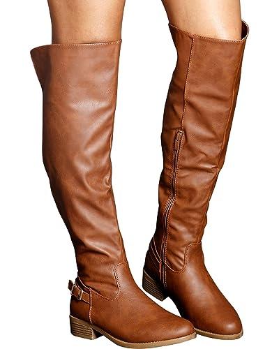 d04f7359a Top Moda Women s Melissa Zip Up Riding Boot