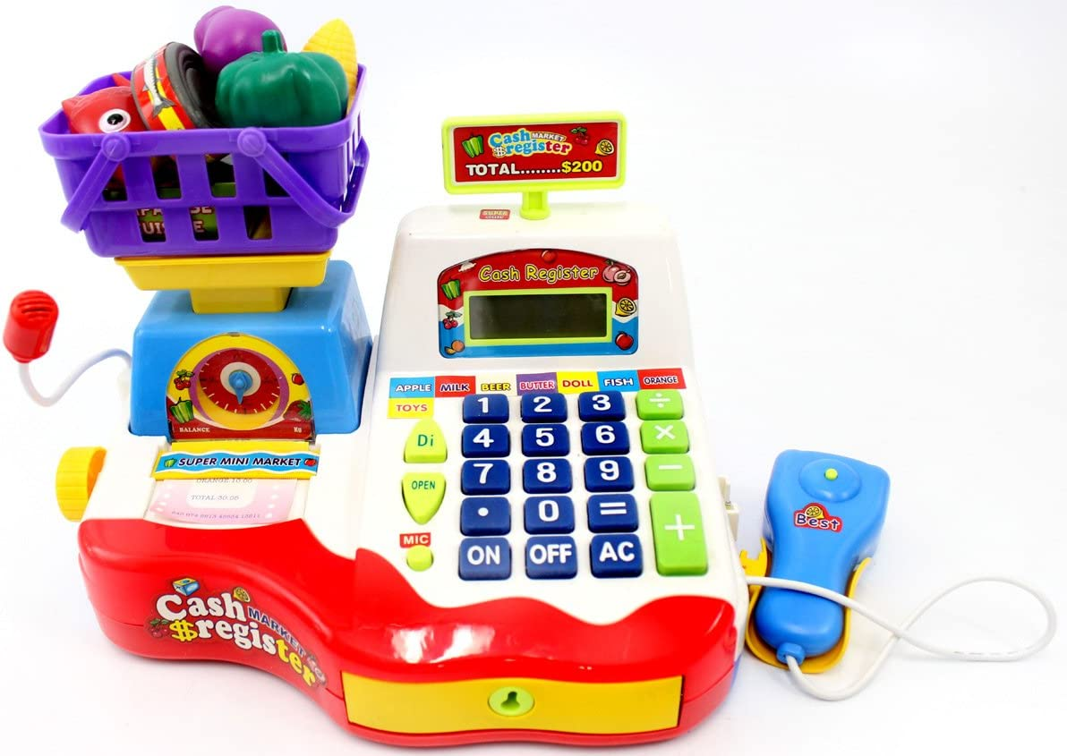 PowerTRC Supermarket Cash Register Toy | Checkout Scanner | Weight Scale | Microphone | Calculator | Play Money | Food Shopping | Kids