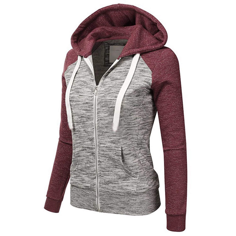 Amazon.com: Desirca Womens Hoodies Sweatshirts Solid Color Hooded Jacket Long Sleeve Femme Hoodie Zipper Fall Summer Female Coat Outwear Female Bomb,Red,M ...