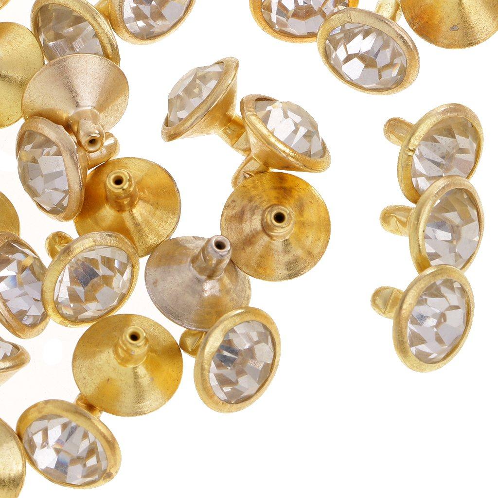 Dor/é 7mm Gazechimp Lot De 50 Pcs Rivet Clou En Strass DIY Accessoire Pour Chaussure Bracelet Artisant Cr/éatif