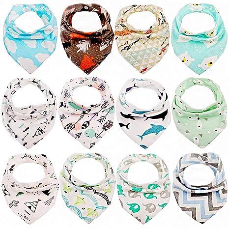 Tomkity 12pcs Baberos Bandana Baberos Bebe Diseño de Animales para Bebés y Niños