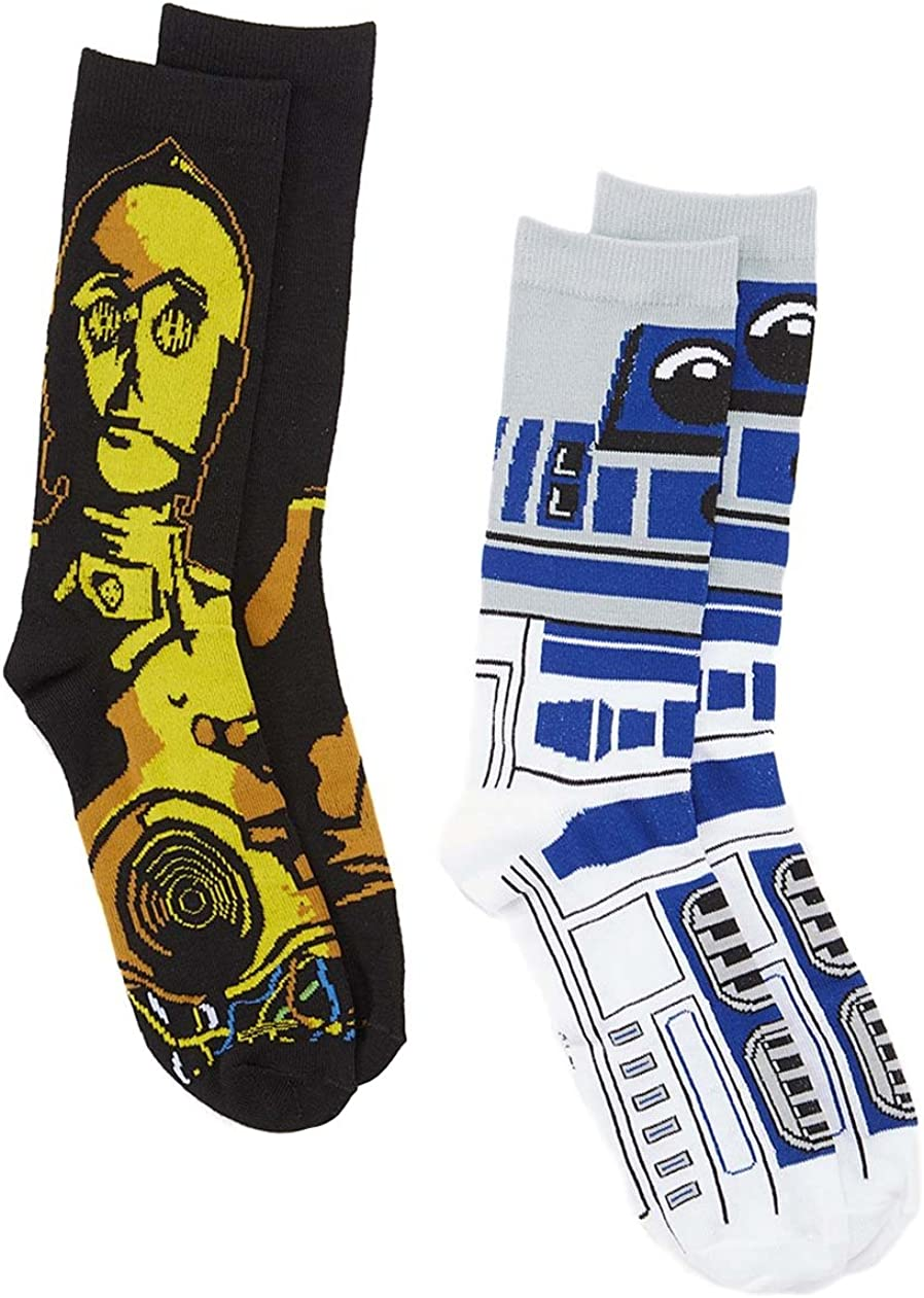 Star Wars R2-D2 C-3PO 2 Pair Pack Crew Socks