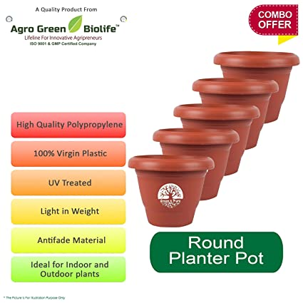 Green And Pure 14 Inch Round Flower Planter | Planter Pot | Plant Containers  | Plastic