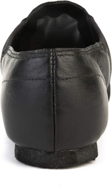 JOINFREE Jazz Shoes Women and Mens Jazz Shoes Split Sole Leather Jazz Shoe Dance Shoes Jazz Shoes Ladies Boys Girls Black, 8 UK,EU 43