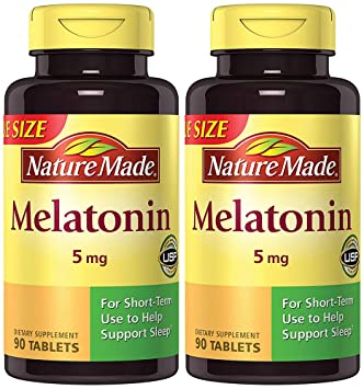 Nature Made Maximum Strength Melatonin 5 mg, 90 Tablets (2 Bottles)