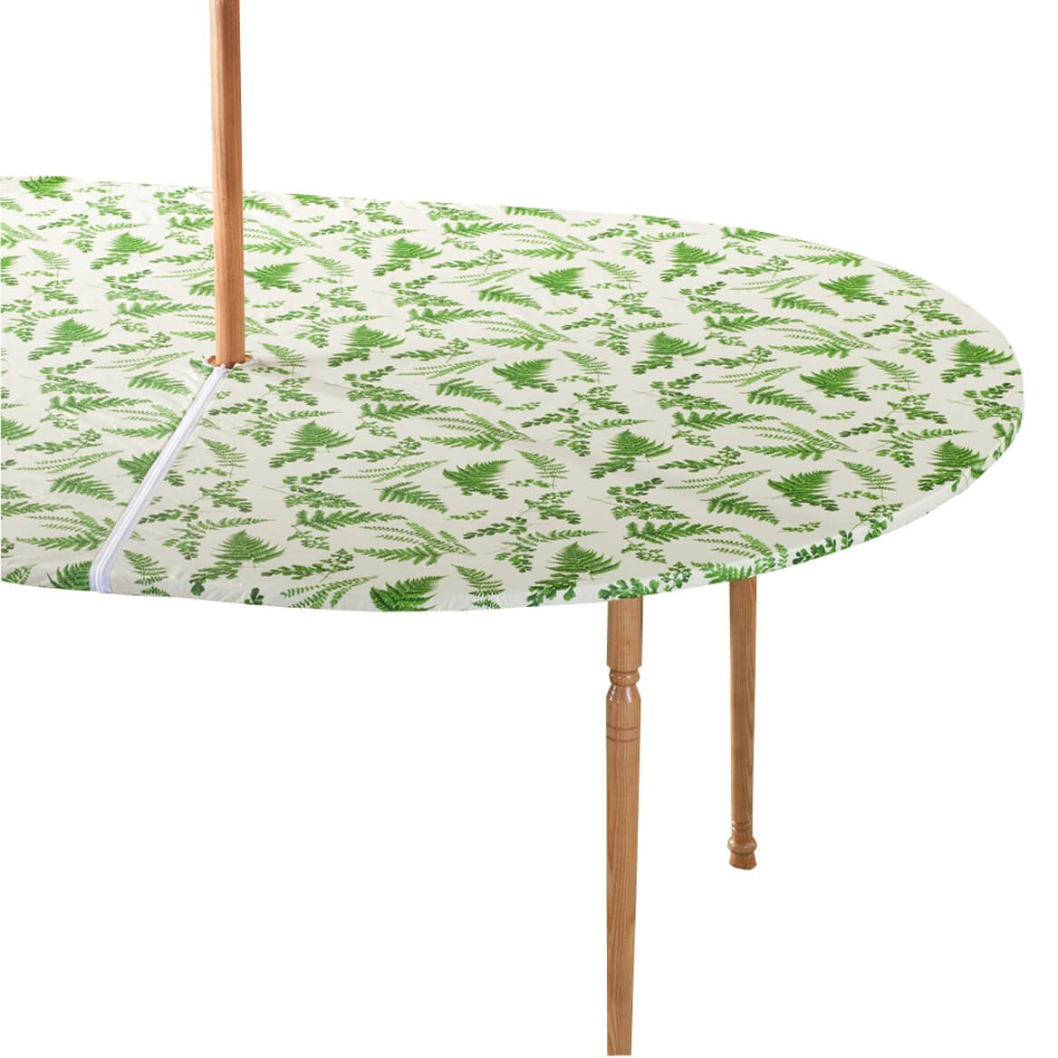 Miles Kimball Garden Greenery Zippered Elasticized Umbrella Table Cover - 42'' x 68'' Oval