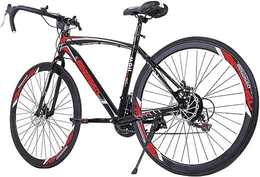 26 inch Road Bike Bicycles, Begasso Shimanos Aluminum Full Suspension Road Bike, 21 Speed Disc Brakes, 700c Tire, Mens/Womens Fashionable Bikes