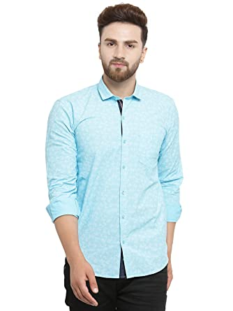 97172587ddd Kivon Men s Blue Casual Shirts for Mens Full Sleeves Printed (Size L ...