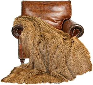 Fur Accents Throw Blanket, Soft Shag, Wolf Skin, Bear Skin, Premium Quality, Faux Fur, Cruelty Free, Fun Pelt, Americana Collection, Designer Throw, Coyote, Sheepskin USA (4'x5')