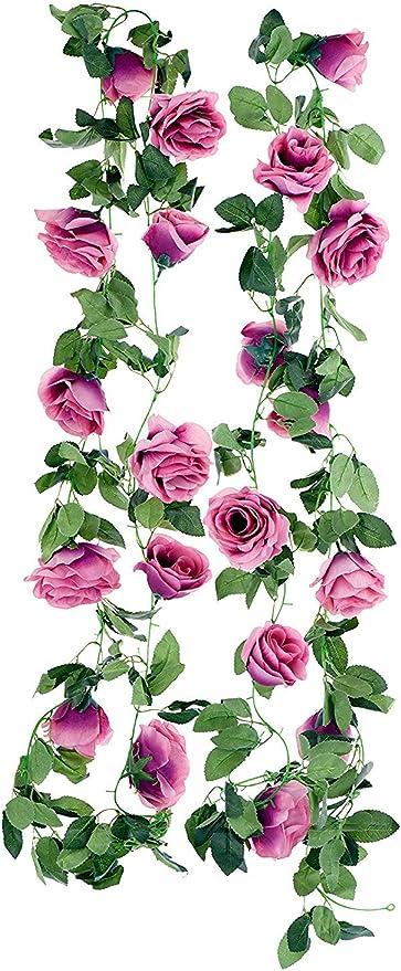 FLOR FALSA Guirnalda Flores Artificiales para Casa, Jardín, Boda, Fiesta, Decoración Plantas Rosa para Colgar Decoración Rosas Seda para Decoración De Pared De Boda,C,2pcs: Amazon.es: Hogar