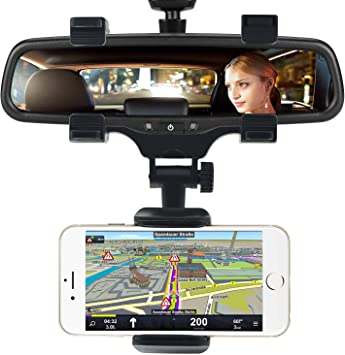 Universal Smartphone Holders Car Rear View Mirror Mount Holder ...