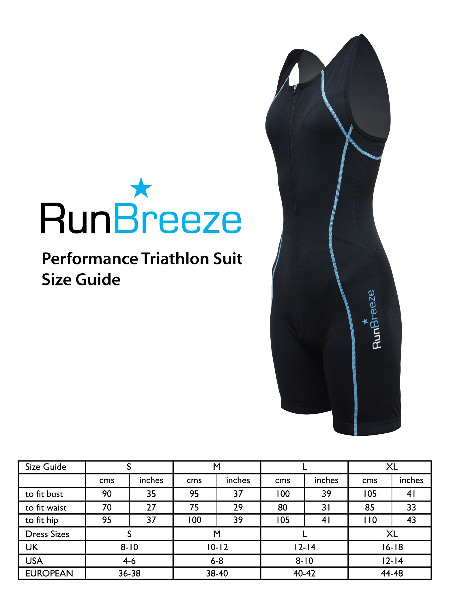 RunBreeze Women's Triathlon Suit | Premium, Padded Performance Tri Suit (Black, X-Large)