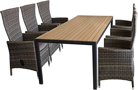 7tlg polywood aluminio Mobiliario de jardín mesa de jardín 205 x 90 cm + 6 – Sillón con asiento acolchado Polirratán marrón jaspeado de muebles para jardín Asiento Grupo: Amazon.es: Jardín