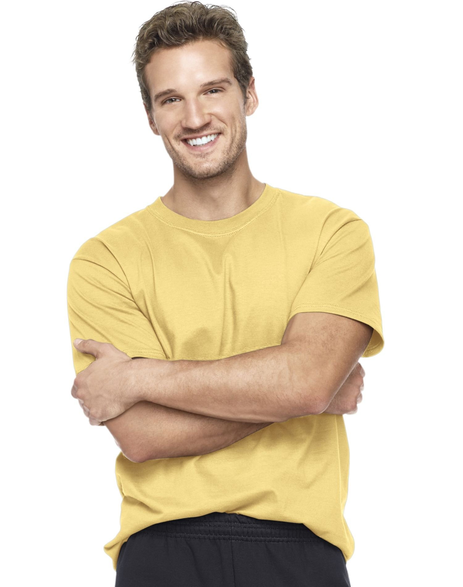 Hanes 5180 Hanes Beefy-T Adult Short-Sleeve T-Shirt,Daffodil Yellow,3XL