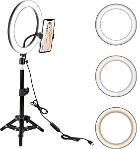"10"" LED Selfie Ring Light with Tripod Stand & Cell Phone Holder for Live Stream/Makeup, BONFOTO Dimmable Desktop Camera Ringlight for YouTube Video/Photography Compatible with iPhone/Android"