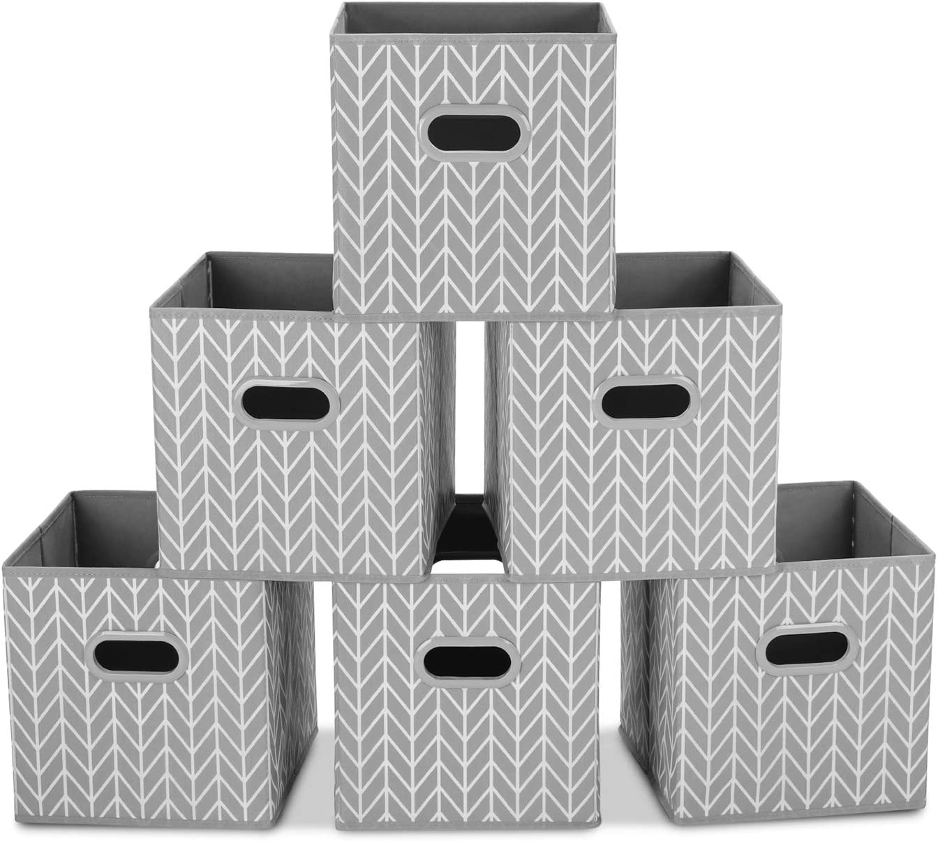 MaidMAX Cloth Storage Bins Foldable Storage Cubes Baskets with Dual Plastic Handles for Home Office Nursery Drawers Organizers 10.5/×10.5/×11 inches Gray Set of 6 Cube Organizer Bins