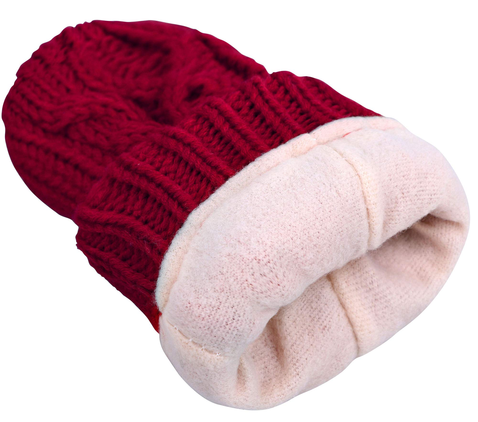ANDORRA - 3 in 1 - Soft Warm Thick Cable Hat Scarf & Gloves Winter Set, Red by Andorra (Image #7)