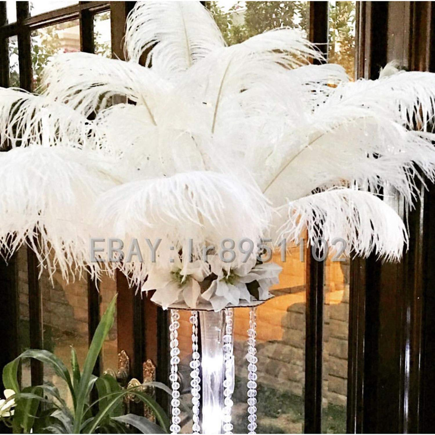 100pcs Small Pole Natural Ostrich Feather 35CM-40CM/14-16 inch Dyed White DIY