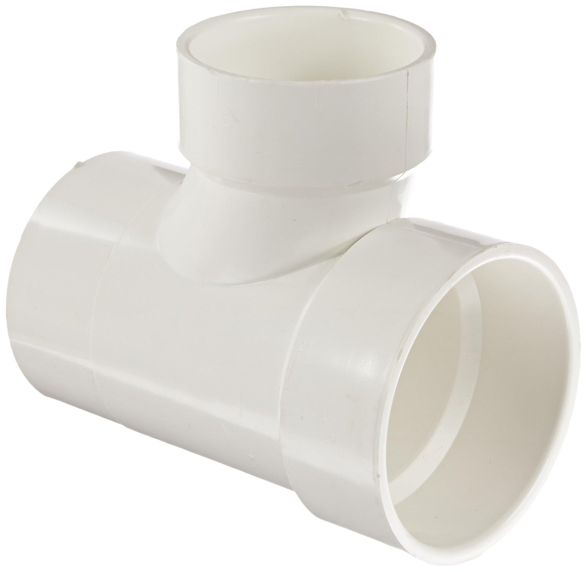 Spears P404 Series PVC DWV Pipe Fitting, Reducing Sanitary Tee, 4'' Spigot x 4'' Hub x 3'' Hub