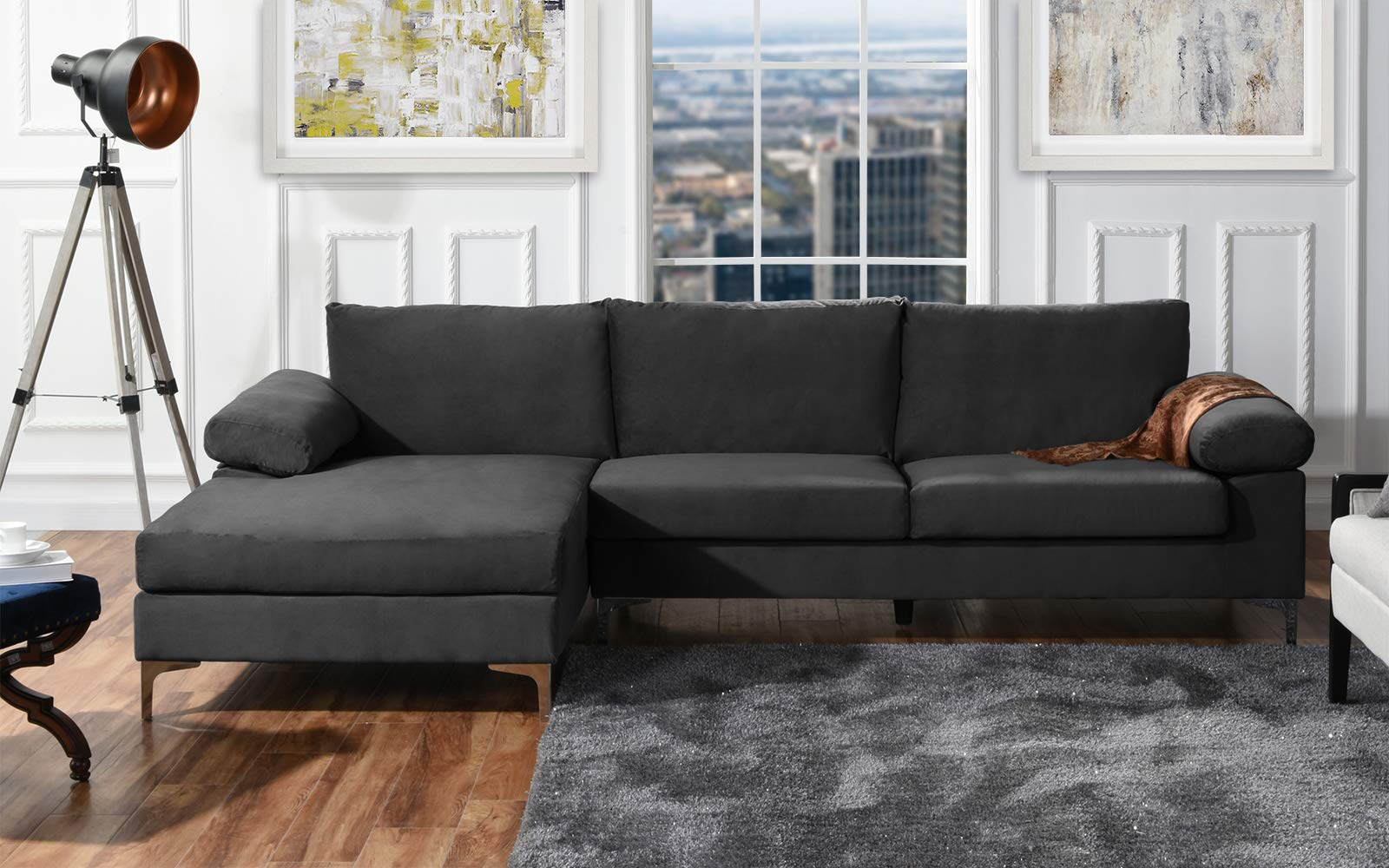 Modern Large Velvet Fabric Sectional Sofa, L-Shape Couch with Extra Wide Chaise Lounge (Grey) by Divano Roma Furniture