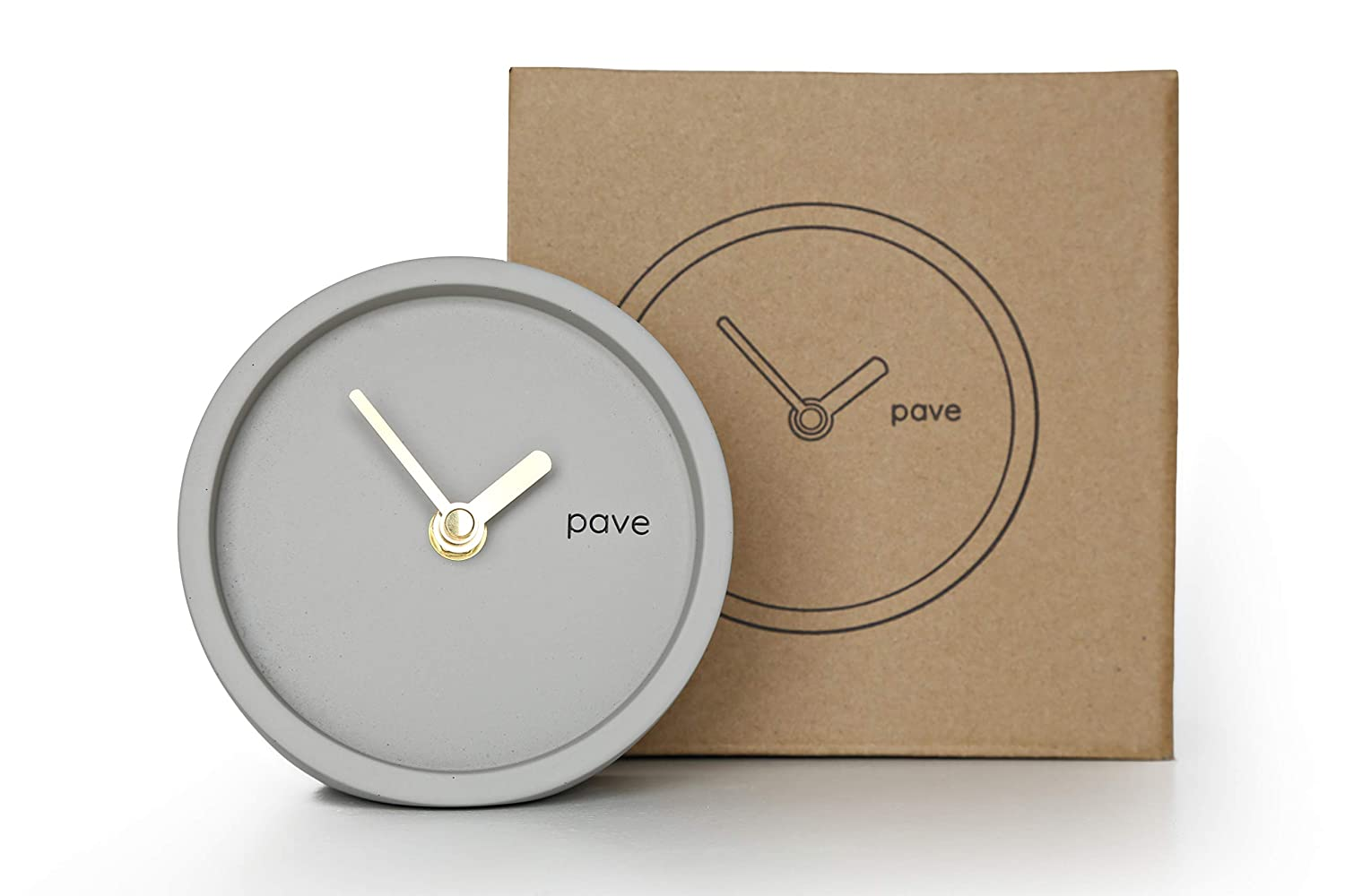 Desk Clock, Table Clock, Modern Minimal Clocks by Pave, Cement Concrete Clock Grey, Mantle Clocks Scandinavian Mantel Wall Clock, Vintage Bedside Kitchen, Industrial Silent Quartz, Gold Gray