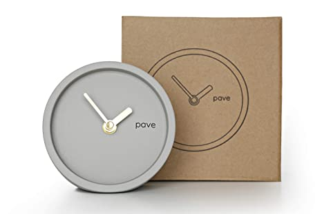 Pave Minimal hormigón reloj carrillón de sobremesa, bonito diseño escandinavo con cobre reloj manos
