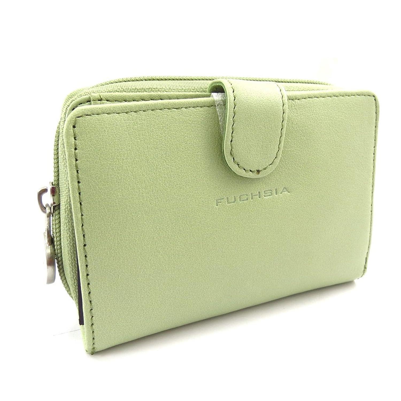 Wallet leather 'Fuchsia' green.