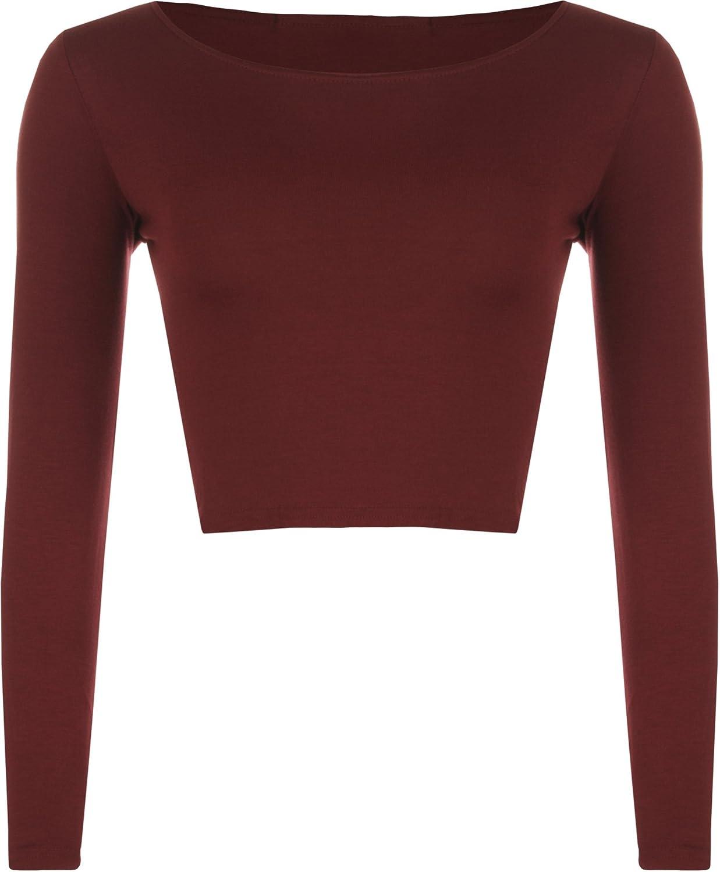 Mujeres Manga Larga Llanura Recortar la Camiseta Corta Cuello Redondo Top WearAll