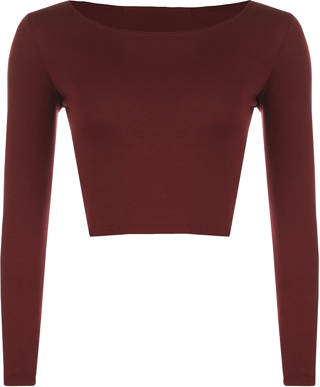 WearAll Womens Crop Long Sleeve T Shirt Short Plain Round Neck Top 36068