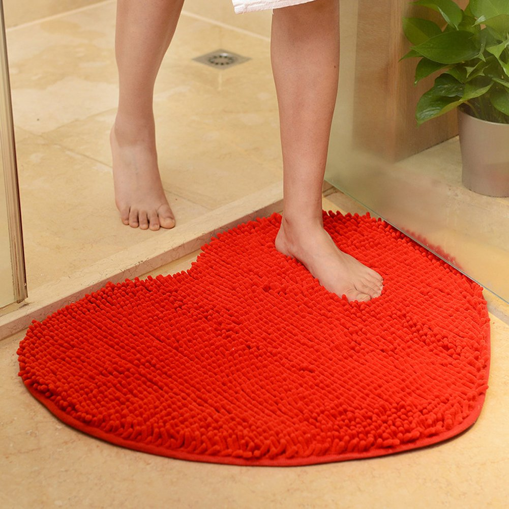 YJBear Sweet Heart Pattern Chenille Anti-slip Microfiber Doormat Solid Color Non-Slip Area Rug Carpet Shaggy Floor mat Soft Bath Mat for Home Bedroom Bright Red 20'' X 24''