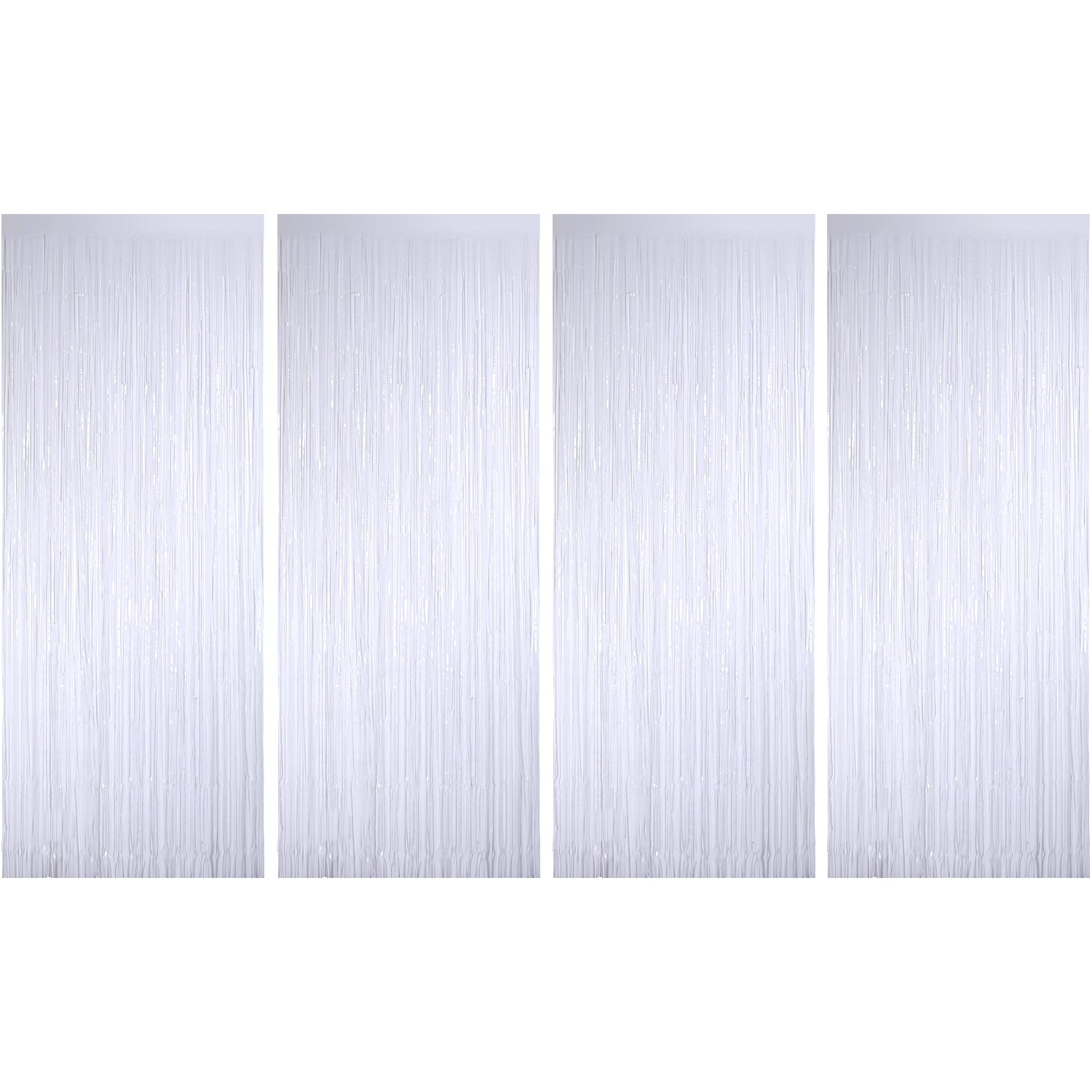 Sumind 4 Pack Foil Curtains Metallic Fringe Curtains Shimmer Curtain for Birthday Wedding Party Christmas Decorations (White)