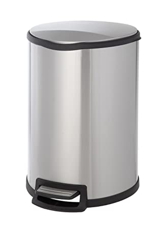 HomeZone 45 Liter Stainless Steel Semi Round Step Trash Can
