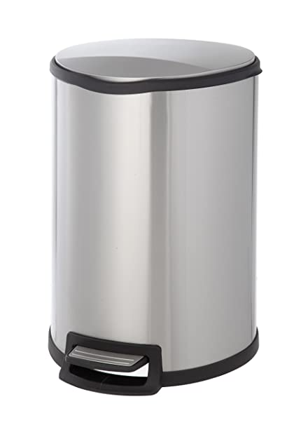 Home Zone VA41305A Stainless Steel Semi Round Kitchen Step Trash Can, Silver