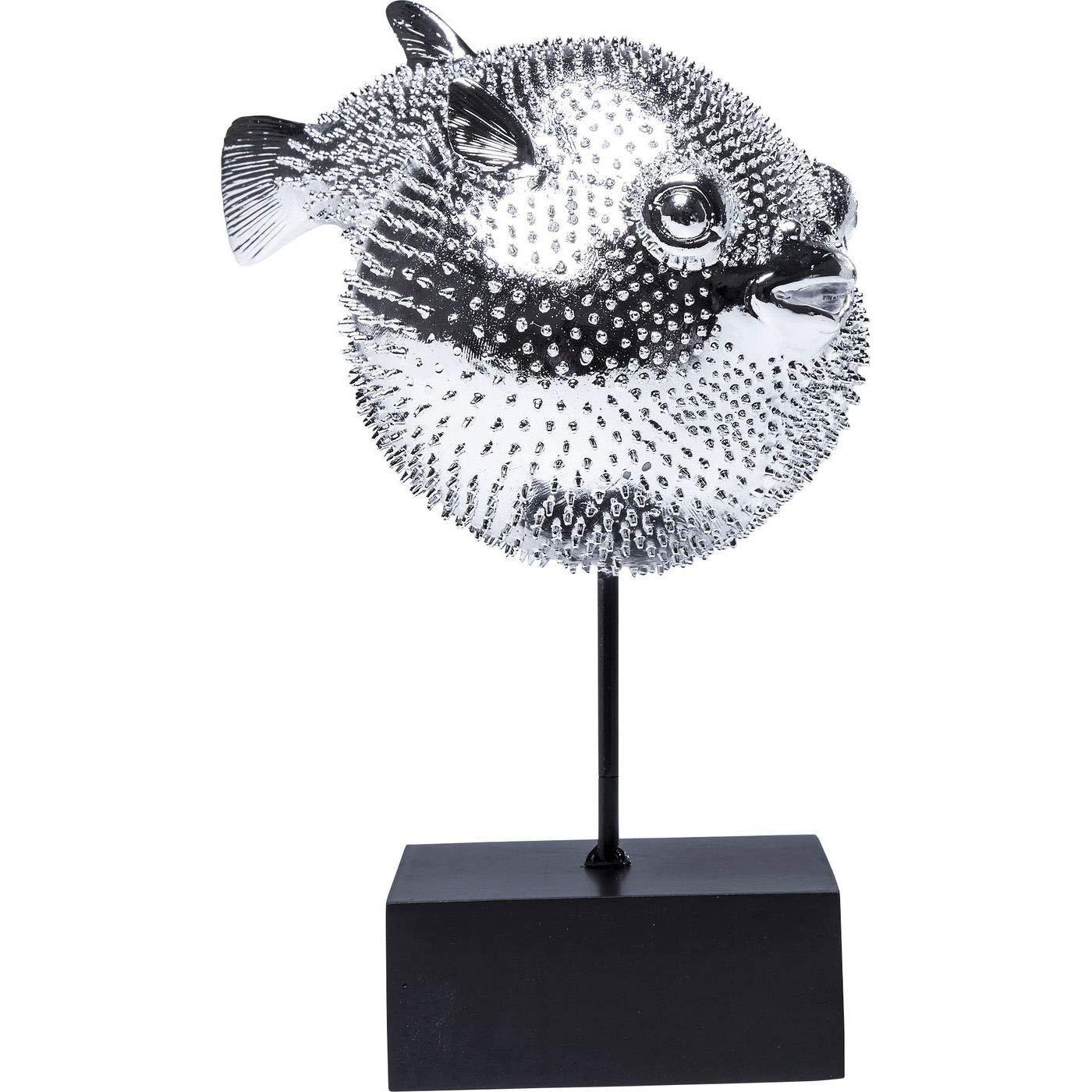 Kare Dekofigur Blowfish 23,5 x 28,5 x 16 cm schwarz-chrom Dekofisch