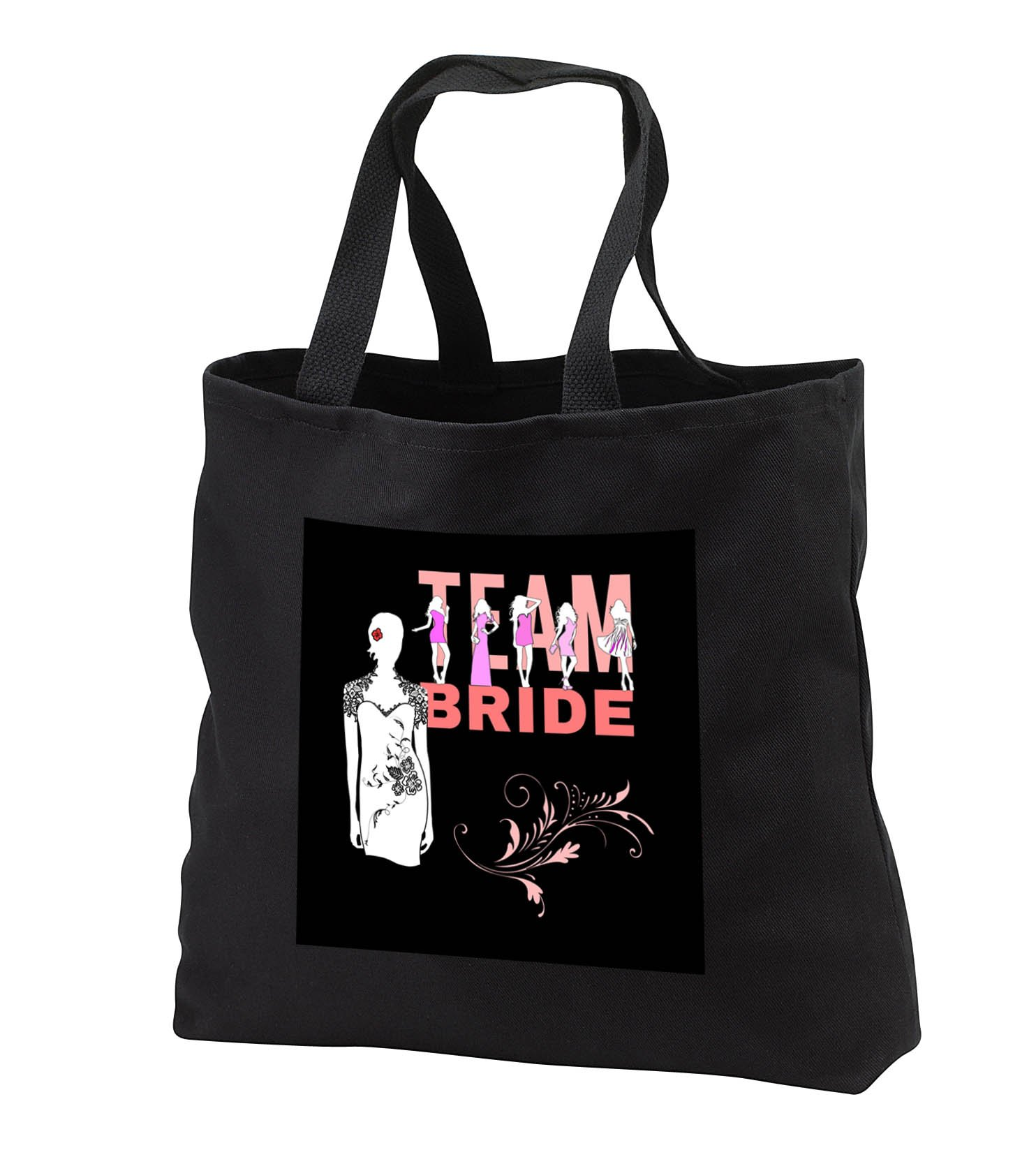 Alexis Design - Wedding - Team bride, girls, violet dresses, bride in the white dress on black - Tote Bags - Black Tote Bag JUMBO 20w x 15h x 5d (tb_283766_3)