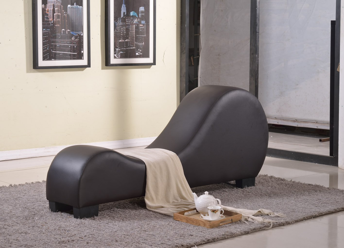 Curved Yoga Chaise Lounge Faux Leather Modern Upholstered ...