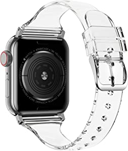 baozai Compatible with Apple Watch Band 38mm 40mm 42mm 44mm, Clear Soft Slim Thin Narrow Silicone Band for iWatch SE Series 6 Series 5/4/3/2/1 Women (Clear, 40mm/38mm)