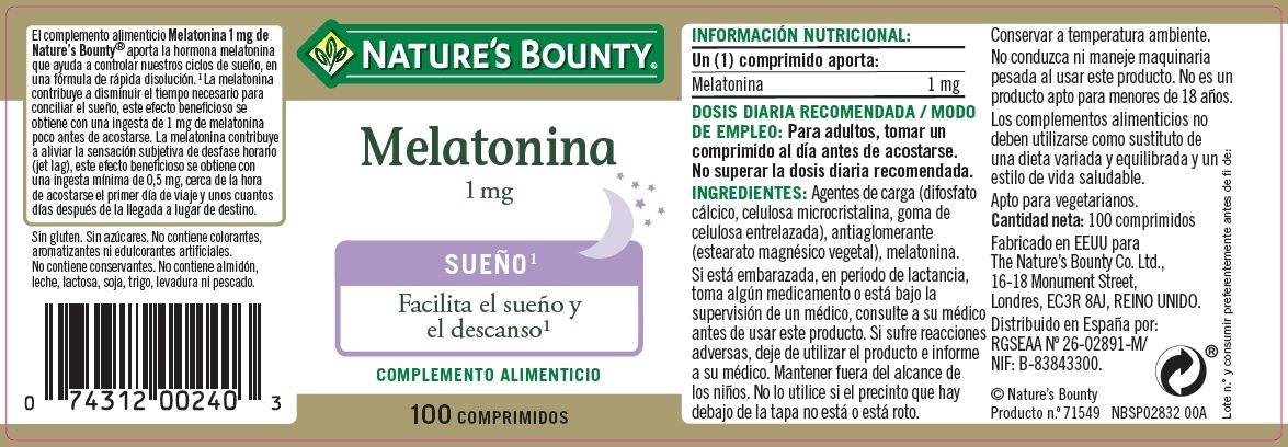Natures Bounty Melatonina 1 mg Complemento Alimenticio - 100 Tabletas