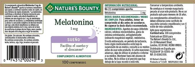 Natures Bounty Melatonina 1 mg Complemento Alimenticio - 100 Tabletas: Amazon.es: Salud y cuidado personal