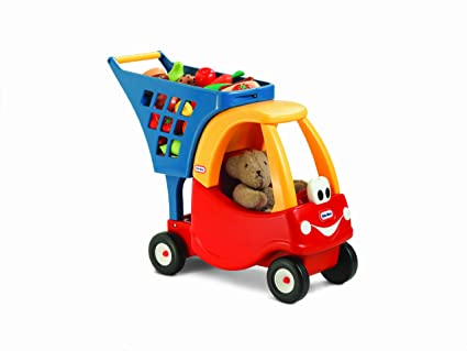 Amazon Com Little Tikes Cozy Shopping Cart Red Yellow Toys Games