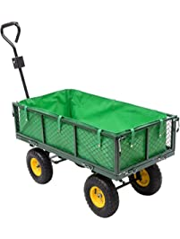 Goplus Steel Garden Cart Utility Wagon 800LB Capacity With Removable Sides  Includes Water Proof Liner