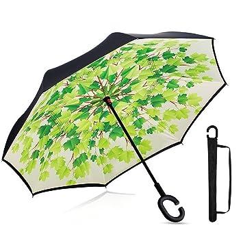 TuChang Avanzada Auxiliar Doble Capa Paraguas Reverse Paraguas, Auto Open- Windproof y UV Protección