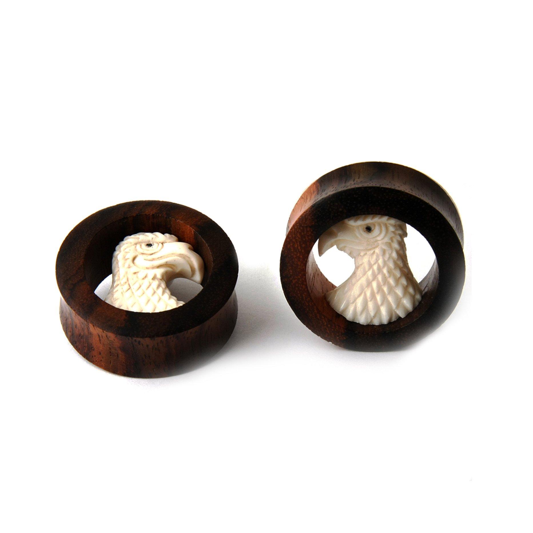 JewelryVolt Pair Sono Wood EAGLE Design Ear Plug Gauges (47 Millimeters)