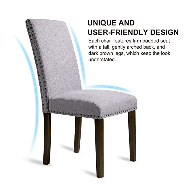 High Quality Amazon.com   Merax Set Of 2 Fabric Dining Chairs With Copper Nails And  Solid Wood Legs (Light Grey)   Chairs Pictures