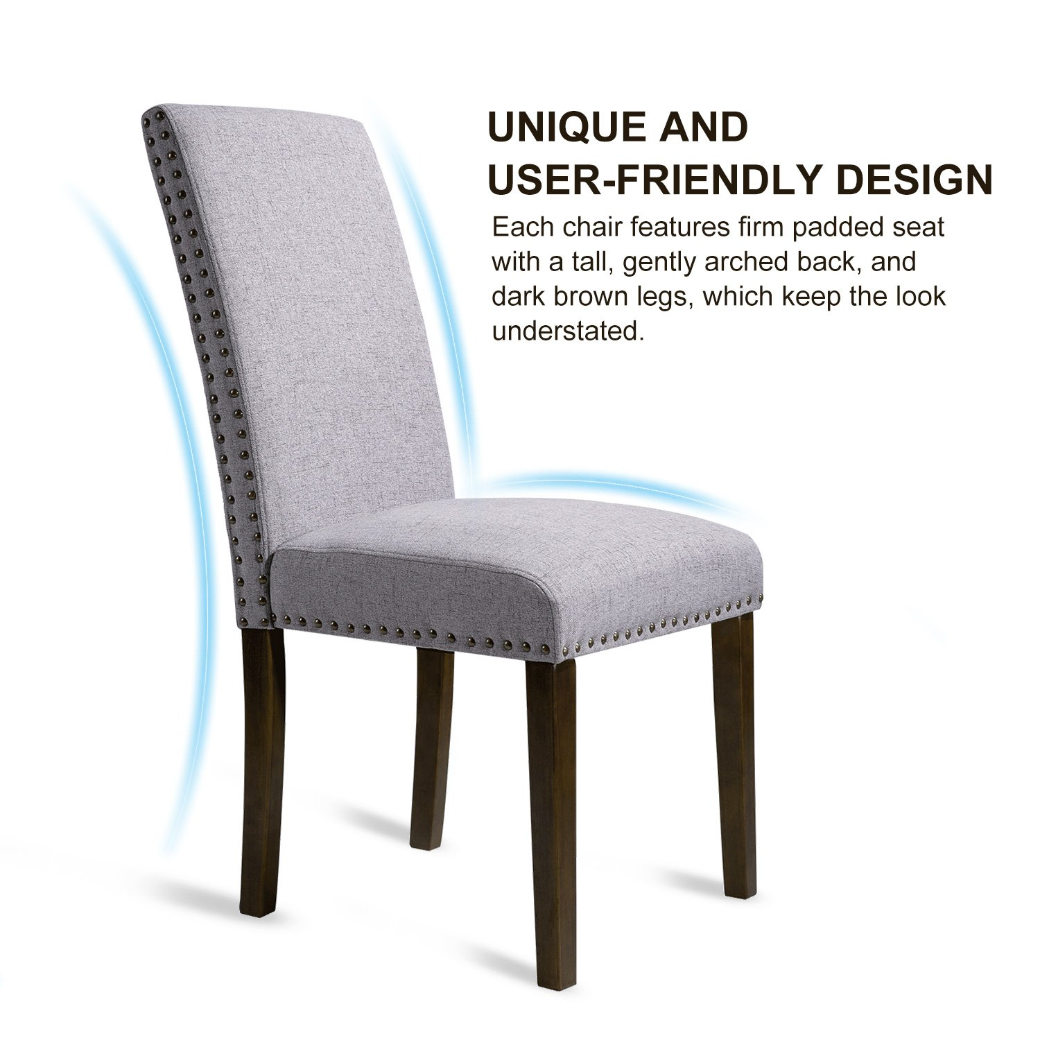 Merax PP036415 Set of 2 Fabric Dining Chairs with Copper Nails and Solid Wood Legs by Merax (Image #2)