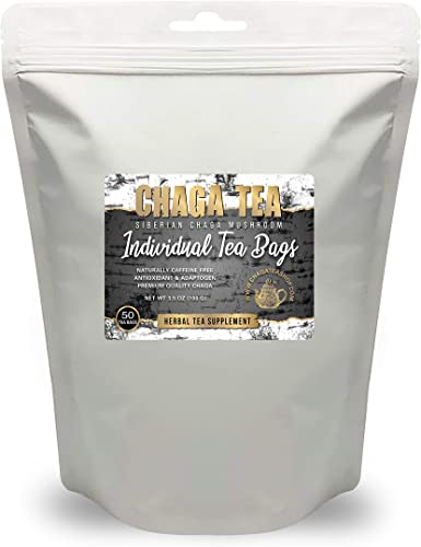 Siberian Chaga Mushroom Individual Filter Tea Bags Original 50 Filter Bags Net Wt 3.5 Oz 100g